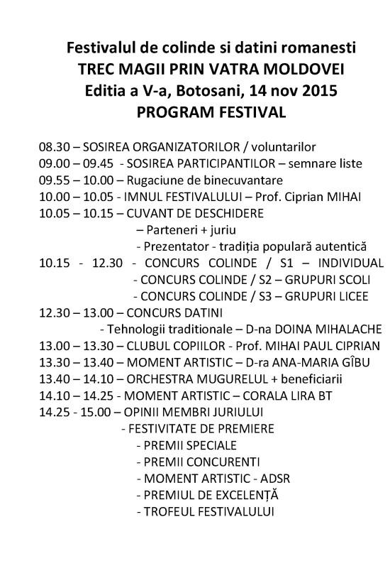 PROGRAM FESTIVAL TREC MAGII PRIN VATRA MOLDOVEI 2015